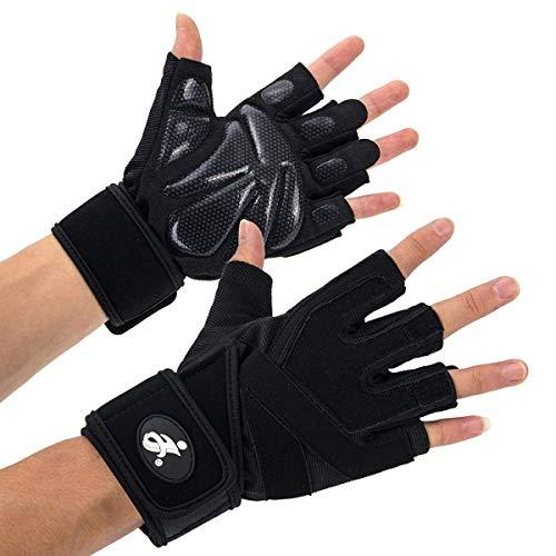 Opard Fitness Handschuhe Trainingshandschuhe mit Silica Gel Grip und Lange Adjustable Handgelenkstütze für mehr Leistung bei Gewichtheben und Bodybuilding Damen Herren (XL)