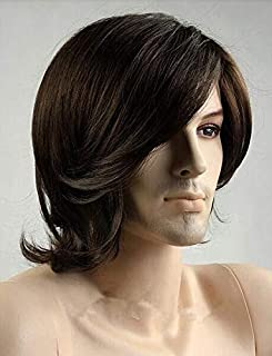 Fashion handsome short curly wigs for men dark brown ZL15-6
