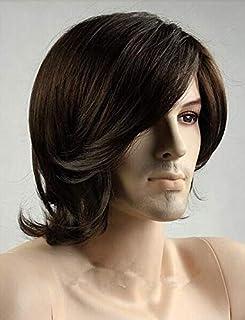 شعر مستعار قصير مجعد رائع وعصري للرجال باللون البني الغامق ZL15-6