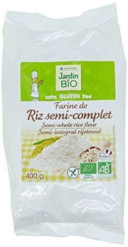 Jardin Bio Etic Farine Semi-Complet Riz de Camargue sans Gluten 400 g - Pack de 6