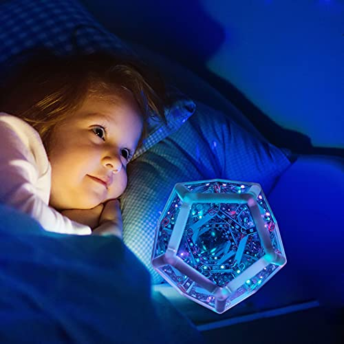Luz de arte de color dodecaedro infinito, lámpara de mesa ajustable LED con espacio en espiral, luz de color dodecaedro infinita creativa y fresca, decoración de muebles, lámpara de mesa, lámpara