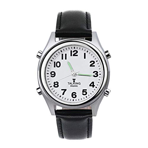 Atomic Talking Watch,Talking Watch for Visually impaired,Quartz Wrist Watch with Stainless Steel Expanding and Leather Strap,Gift for Elderly or Blind People (Silver case Leather Strap)