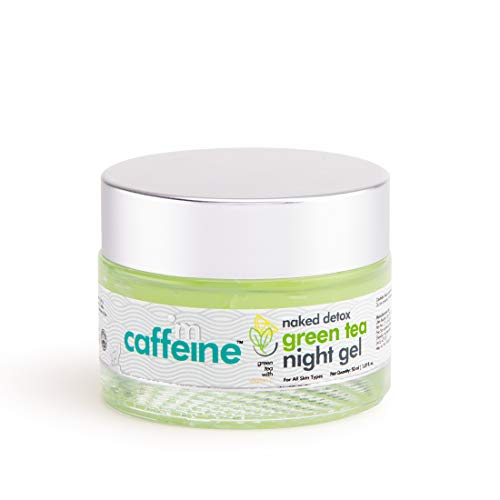 mCaffeine Naked Detox Green Tea Night Gel | Moisturization | Vitamin C, Hyaluronic Acid | All Skin | Paraben & Mineral Oil Free | 50 ml