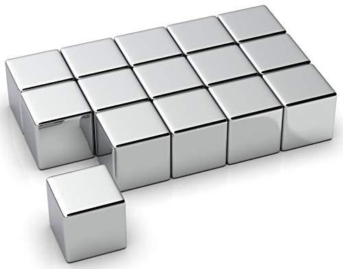 NeoMagNova 15 Stück XL starke Neodym Magnete für Glasmagnettafel, 10mm Würfel Magnete für Magnettafel, Glasboard, Whiteboard und Kühlschrank, Magnetstärke N42, Magnet stark