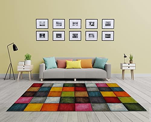 the carpet Monde Deluxe Wohnzimmer Teppich Hand Carved, Kurzflor, Farbenfroh, Blau, Rot, Braun, Grün, Grau, Quadrat Muster, 160 x 230 cm