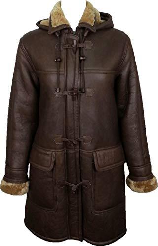 UNICORN Femmes Réel en cuir à capuche Veste Peau De Mouton Duffle Manteau Brun avec fourrure de gingembre #CD Taille 44