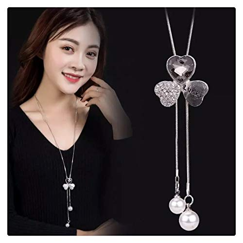 chenran Gift Femme Long Gray Crystal Necklaces & Pendants For Women Round Statement Necklace Chain Fashion Jewelry Accessories (Metal Color : 4)