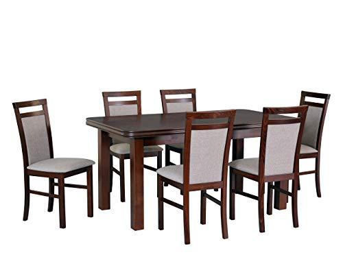 Mirjan24 Esstisch mit 6 Stühlen DM44, Sitzgruppe, Küchentisch, Esstischgruppe, Esszimmer Set, Esstisch Stuhlset, Esszimmergarnitur, DMXZ (Nuss/Nuss Inari 23)