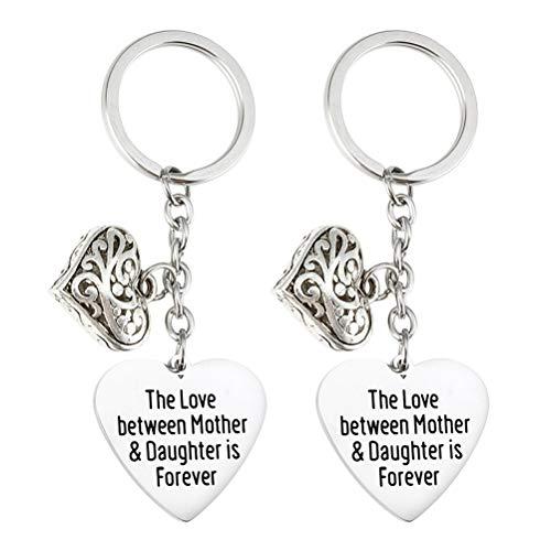 VALICLUD 2 Piezas Love Heart Key Holder Llaveros de Acero Inoxidable Mommy Theme Colgante Llaveros Adornos artesanales Regalos para el día de la Madre