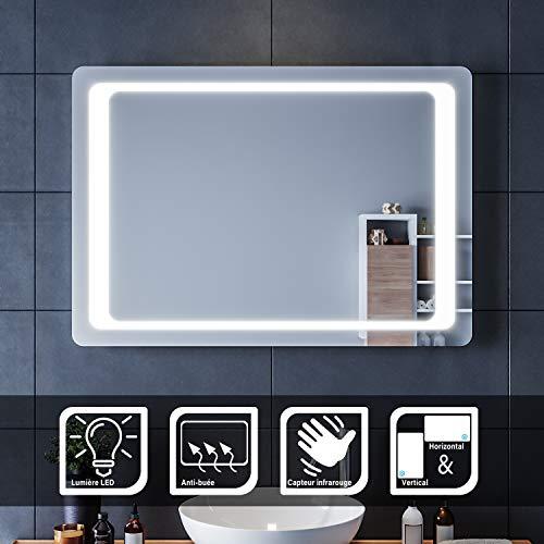 SIRHONA LED Espejo de Baño 70x100cm Espejo de Baño con Iluminación LED Espejo para Baño con Luz Interruptor Senor IR Más Segura de Controlar Espejo con Función Anti-Niebla
