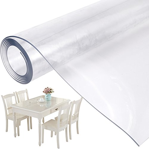Mantel Transparente de PVC Plástico Grueso Impermeable para Mesa Cocina 160x90cm