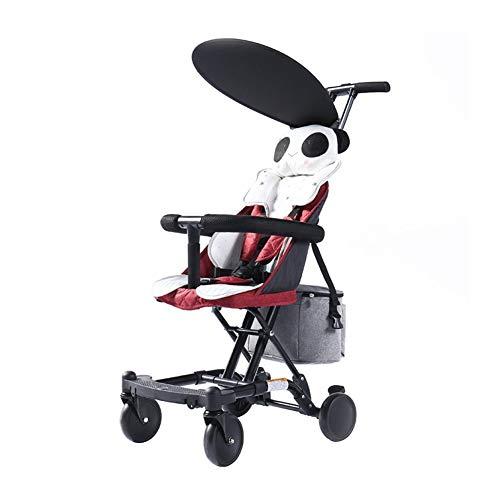 WENJIE Plegable Carretilla Carrito De Bebé Ultraligero Cochecito De Bebé con Freno Uso Portátil En Interiores Y Exteriores. (Color : Red)