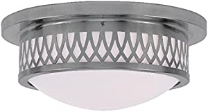 Semi Flush Mounts 2 Light with Hand Blown Satin White Brushed Nickel Size 13 in 120 Watts - World of Crystal