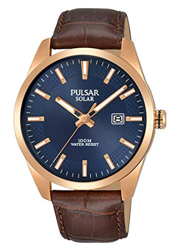 Pulsar Herren Analog Solar Uhr mit Leder Armband PX3186X1