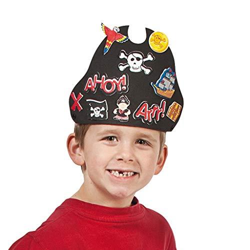 Elfen und Zwerge - Piratenhut basteln - Kostümzubehör Seeräuber - mit selbstklebenden Stickern - aus Moosgummi - 12 Stück