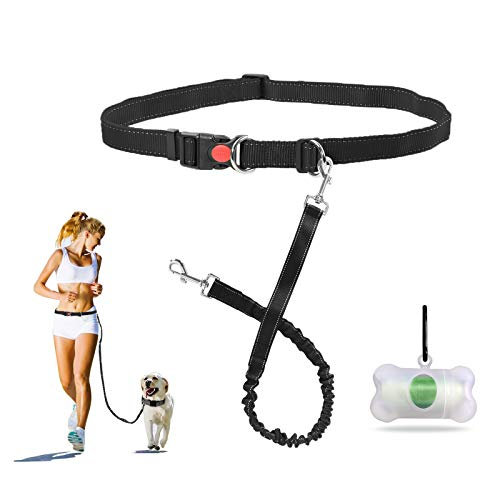 Hands Free Dog Leash, Retractable Dog Running Leash, Elastic Bungee Dog Running Belt,Jogging Lead with Waist Belt for Dog Running, Walking and Hiking, Length Adjustable, Safety Buckle