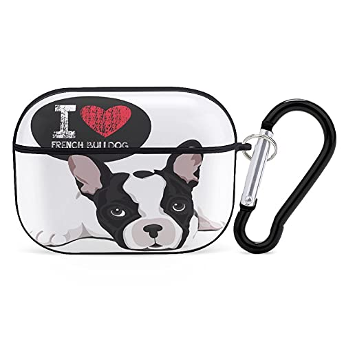 I Love French Bulldog Compatible with Airpods Pro Case,Soft Silicone Skin Case Cover Shock-Absorbing Protective Case with Keychain