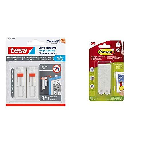 Tesa Clavo adhesivo ajustable, ideal para cuadros, para paredes pintadas y yeso (1 kg) & Command 17206 Pack de 8 Tiras para Cuadros Grandes Color Blanco, Set de 8 Piezas
