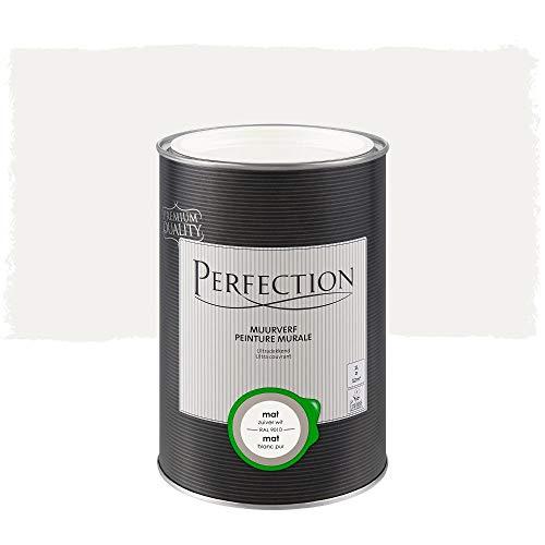 Pintura de pared interior monocapa, Perfection – Mate – RAL 9010 blanco puro – 1 l – 12 m2