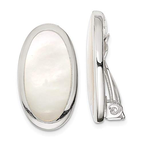 925 Sterling Silver Oval Mother Of Pearl Inlay Non...