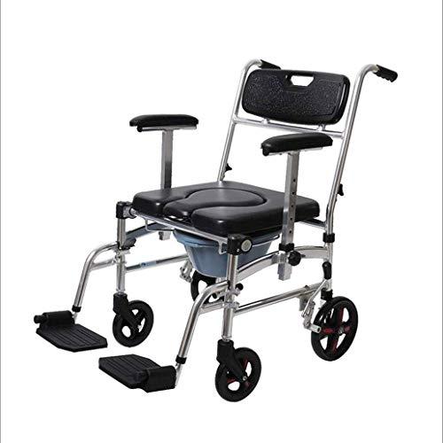 YEESEU Evita el skidding Silla de ducha, asiento del inodoro de edad avanzada con ruedas puede empujarse Aseo heces hemiplejía Rehabilitación silla plegable de la aleación de aluminio pequeña silla de