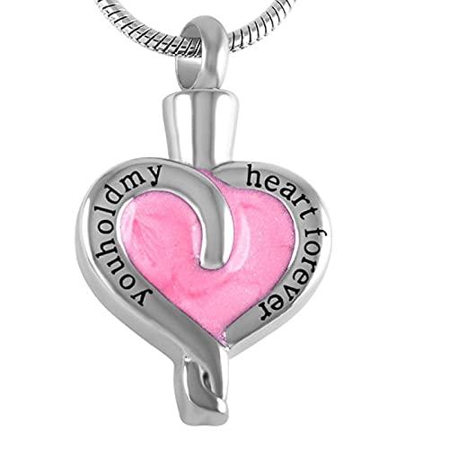 NIUBKLAS tImpressive Jewelley Hold My Heart Forever Collares de joyería de Ceniza de cremación de Acero 316L