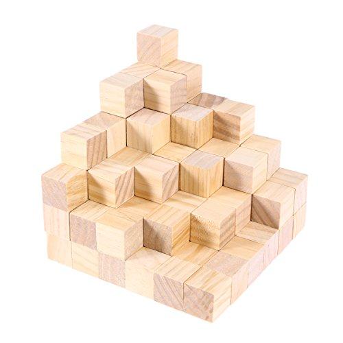 ULTNICE 100 piezas de madera cuadrados bloques de madera en blanco para DIY Craft pieza de madera para el proyecto de arte