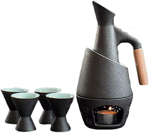 WQF Juego de 7 Sake de cerámica con Olla para Calentar y Estufa de Vela, Textura pintoresca esmaltada en Negro, Estilo Tradicional japonés, Juego de Regalo para Servir Sake
