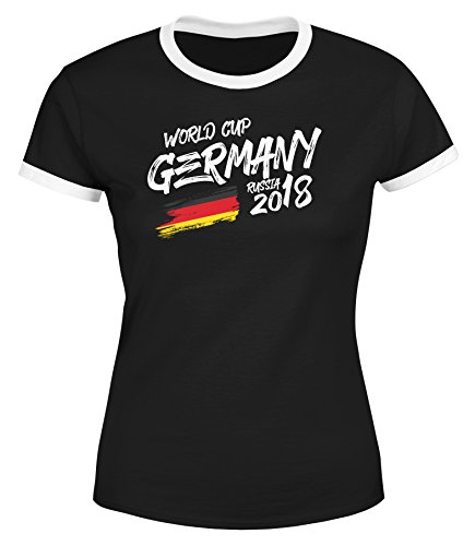 MoonWorks® Damen T-Shirt Deutschland Fan-Shirt Retro Fußball WM 2018 Weltmeisterschaft Fan-Trikot schwarz-weiß M