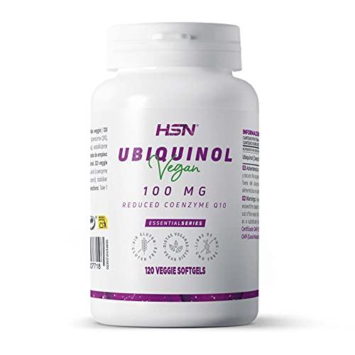 Ubiquinol de HSN   100mg   Forma Reducida Coenzima Q10   Mayor Biodisponibilidad   No-GMO, Vegano, Sin Gluten, Sin Lactosa   120 Perlas Vegetales