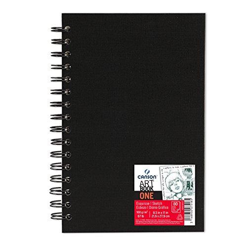 Canson Art Book One - Cuaderno de dibujo, 21.6 x 27.9 cm, color negro, 1 unidad