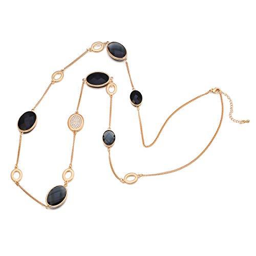 Collana lunga per donna, collana pendente in cristallo Collana collana filo oro Collana nera per collana (Placcato oro)