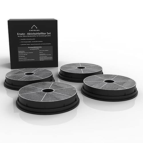 ANDRADO 4er-Set Aktivkohlefilter für Dunstabzugshaube - u.a. passend für Refsta K25, Electrolux, Beko, Arcelik, AEG- Kohlefilter 190mm / 180mm