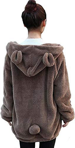 Damen Weich Flauschig Kaninchen Ohren Hoodie mit Schwanz Full Reißverschluss Niedlich Bär Kapuzenpullover Winter Warm Mäntel Jacken Outwear Gr. One size, Kaffeebär