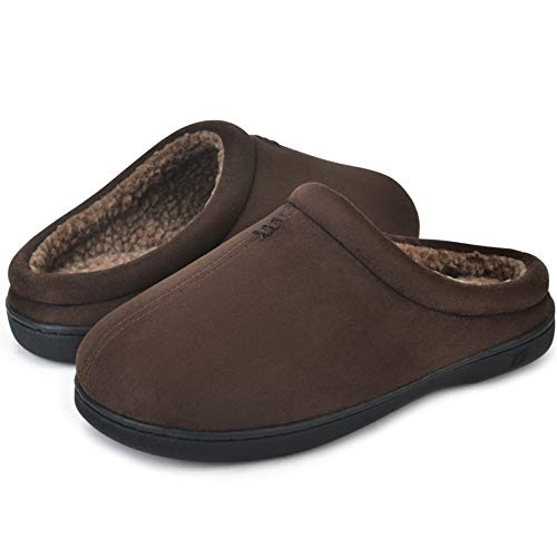 DL Men's Cozy Memory Foam Slippers with Fuzzy Plush Wool-Like Lining, Slip on House Shoes with Indoor Outdoor Anti-Skid Rubber Sole