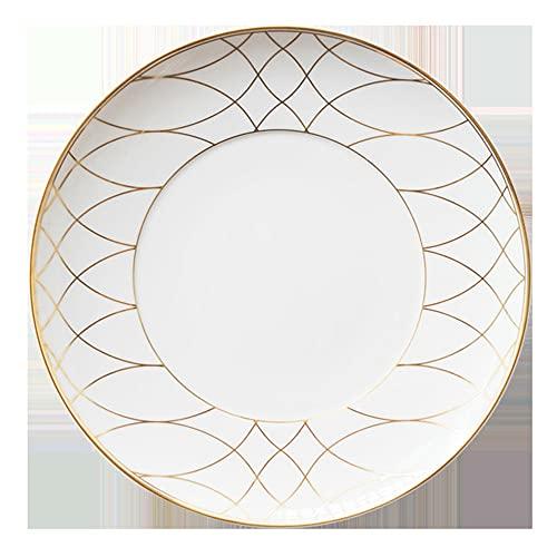 Placa de cerámica simple de estilo europeo, placa de hueso redondo, uso en el hogar Plato de pasta Phnom Penh, restaurante, vajilla de restaurante, sirviendo pan aperitivo postre plato de aperitivos