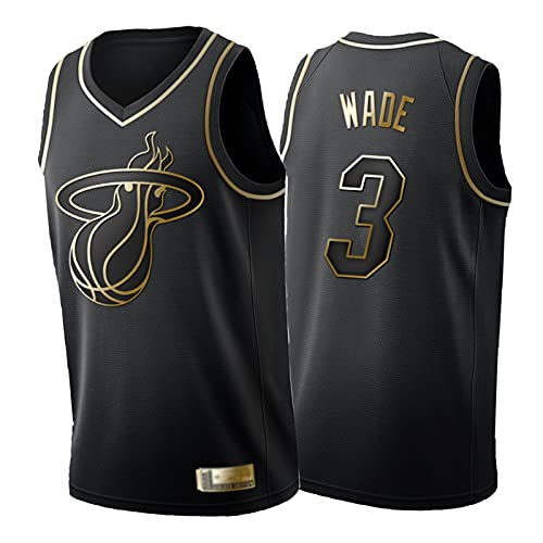 FGRGH Hèāt 3# Dwyáńe Wádè Camiseta para Hombre Y Mujer, Black Gold Edition Bordado Mesh Basketball Swingman Jerseys, Camisetas Sin Mangas con Chaleco L
