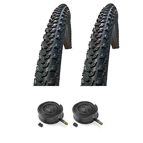 PAIR Baldwins 27.5 x 2.10 BLACK Mountain Bike Off Road Tyres & Schrader Valve Tubes