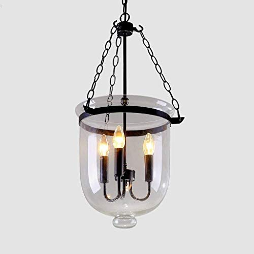 LLLKKK Lámpara colgante de techo con forma de cubo, de cristal transparente, con forma de vela, de metal, con personalidad, de hierro forjado, hueco, para salón, restaurante, tipo Droplight E14
