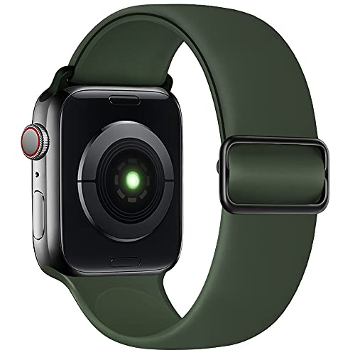 SIRUIBO Stretchy Solo Loop Band Compatible with Apple Watch 40mm 38mm, Adjustable Buckle Soft Silicone Sport Replacement Elastics Strap Women Men for iWatch Series SE/6/5/4/3/2/1, Deep Green