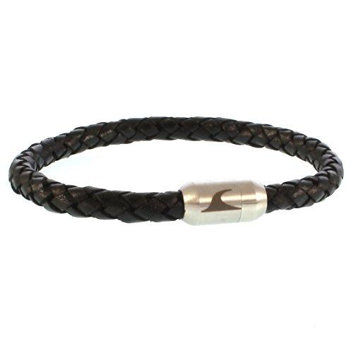 WAVEPIRATE® Echt Leder-Armband Sylt G Schwarz/Silber 22 cm Edelstahl-Verschluss in Geschenk-Box Männer Damen Herren