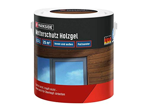 PARKSIDE Baufix Wetterschutz-Holzgel je 2,5 Liter für 25 m² Farbe Nussbaum, Teak (Nussbaum)