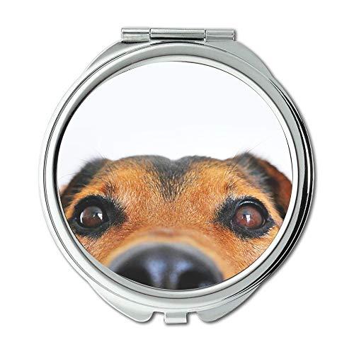 Espejo compacto, con vista de perro dulce y ojos retráctiles, espejo de bolsillo, espejo portátil