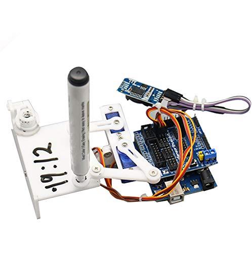 Small Base Clock Manipulator Writing Drawing Diy Robot Maker Programming Stem Toy Parts Open Source Kit Program Acrylic Arm Mechanical Hand Digital Software