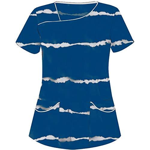 BJJH Outdoor Damen Pflege Berufskleidung Streifenmuster V-Ausschnitt Basic Schlupfhemd Kurzarm Tshirts Schlupfkasack Einfarbig große größen Kasack Krankenpfleger Uniformen mit Zwei Taschen