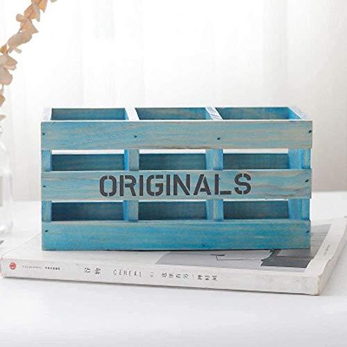 Bagage Trois Grille Pen, Rétro boîte en bois, bureau en bois cosmétiques boîte de rangement, boîte de rangement à distance cosmétiques boîte de rangement (Couleur: Couleur Retro) ( Color : Blue )