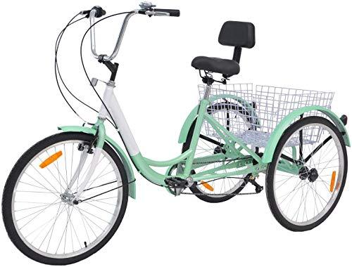 AJ Fashion 7 Speed 3-Wheel für Erwachsene, Dreirad, Cruiser, Radsport, für Outdoor Sports – Cyan, 24 Zoll