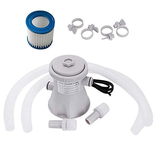 TTLIFE Bomba de Filtro de Cartucho Transparente 110V, Cable de 7.6M Bomba de Filtro de Piscina eléctrica para Herramienta de Limpieza de Piscinas sobre el Suelo