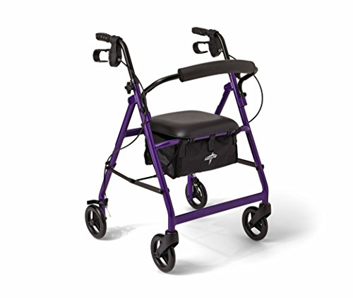 Medline Aluminum Rollator Walker with Seat, Folding Mobility Rolling Walker has 6 inch Wheels, Purple