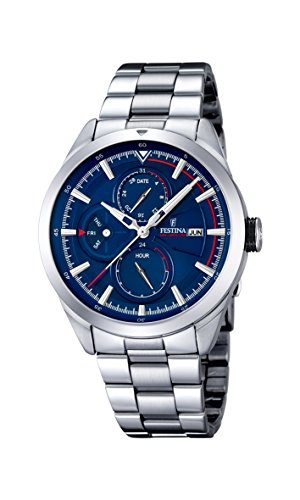 Reloj para Caballeros con Pantalla analógica y Esfera Azul y Brazalete Plateado de Acero Inoxidable (Mecanismo de Cuarzo), F16828/2, de Festina